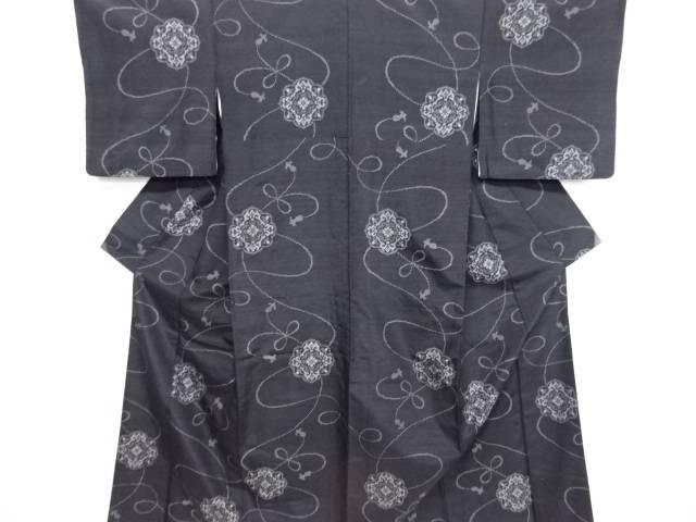 リサイクル 華紋に組紐模様織り出し十日町紬着物【送料無料】