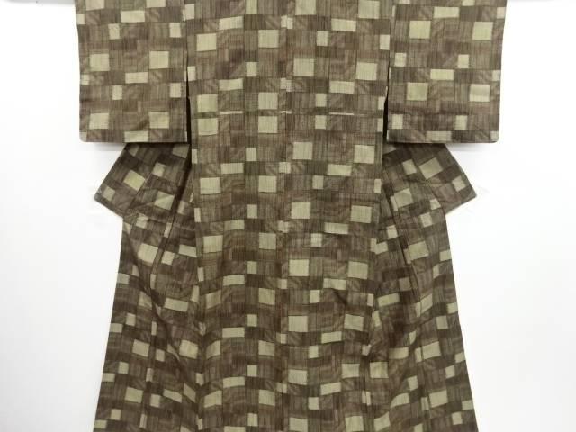 リサイクル 変わり市松模様織り出し十日町紬着物【送料無料】