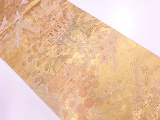 リサイクル やまひで製 屋敷風景模様織出し袋帯【送料無料】