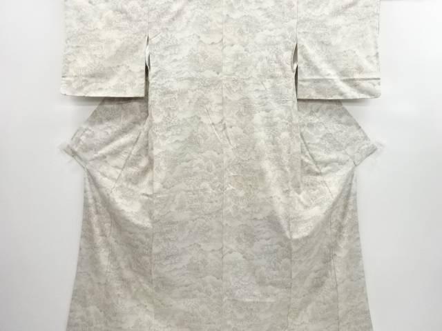 リサイクル 屋敷風景模様織り出し手織り紬着物【送料無料】