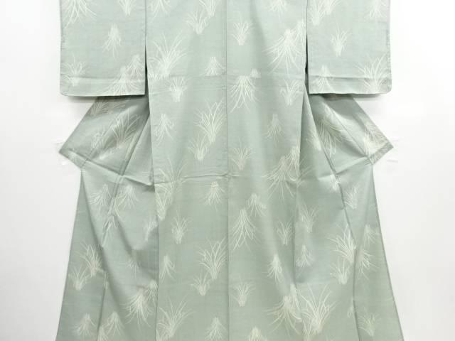 リサイクル 未使用品 草葉模様手織り節紬単衣着物【送料無料】