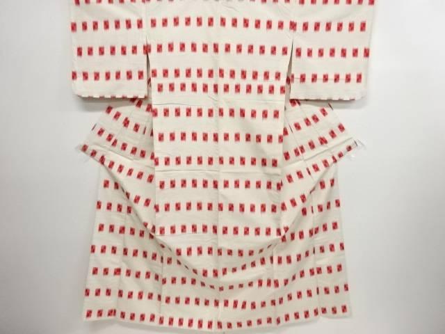 リサイクル 枡模様織り出し手織り紬単衣着物【送料無料】