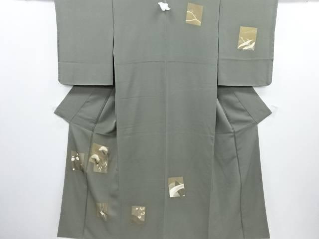 リサイクル 未使用品 金彩色紙に笠松梅菖蒲模様刺繍一つ紋訪問着【送料無料】