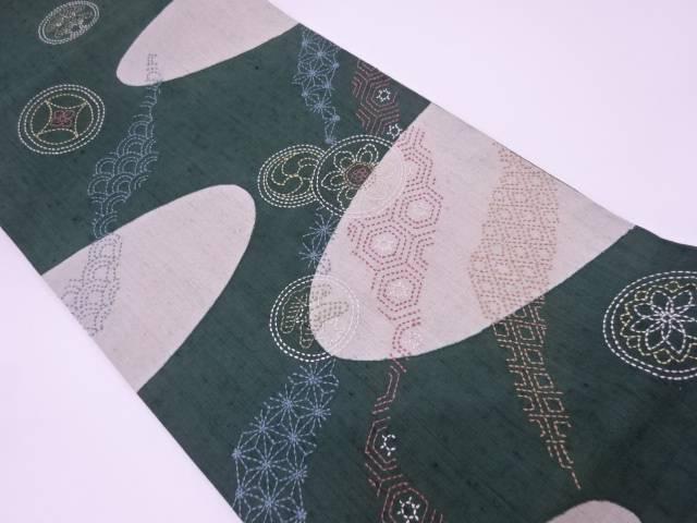 リサイクル 未使用品 手織り紬刺子丸文に松・古典柄模様袋帯【送料無料】
