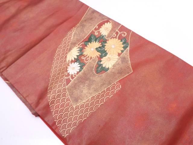 リサイクル 地紙に花唐草・古典柄模様刺繍袋帯【送料無料】