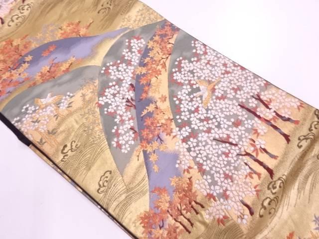 リサイクル 山並みに紅葉・花鳥模様織出し袋帯【送料無料】