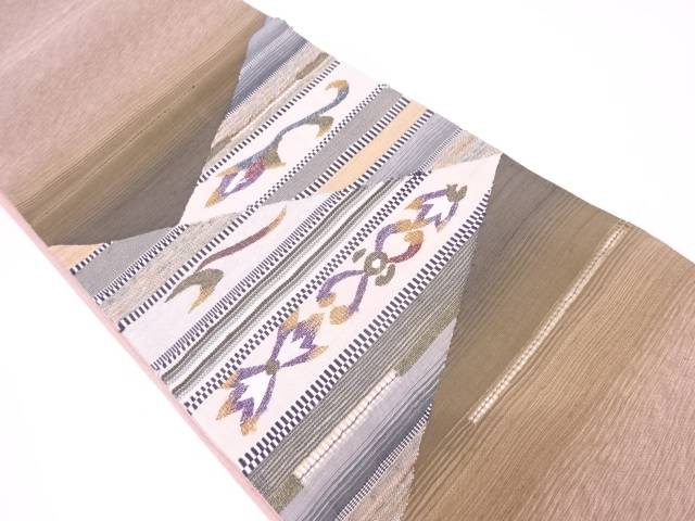 リサイクル すくい織横段に抽象草花模様織出し袋帯【送料無料】