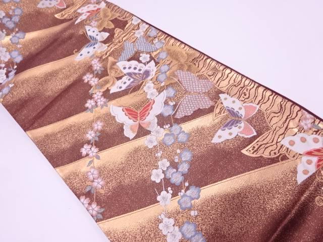 リサイクル 蝶に梅・桜模様織出し袋帯【送料無料】