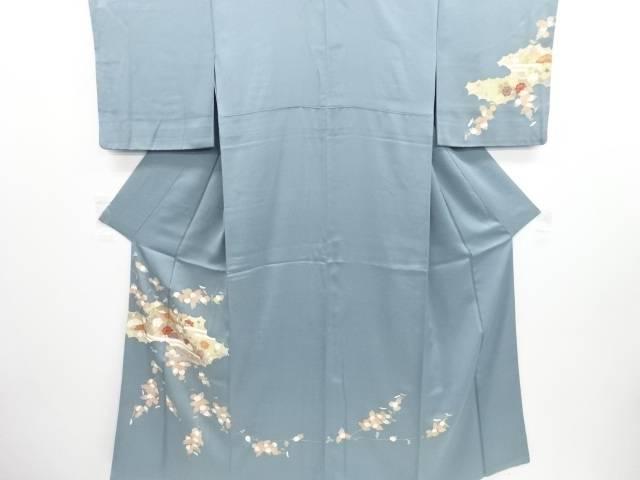 リサイクル 金彩 逆雲取に松菊・牡丹模様刺繍一つ紋訪問着【送料無料】