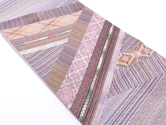リサイクル 切り嵌め組紐に抽象模様袋帯【送料無料】