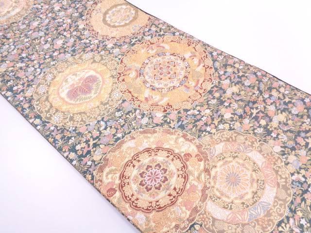 リサイクル 絵皿に花鳥模様織出し袋帯【送料無料】