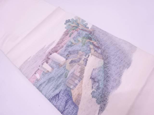 リサイクル すくい織家屋に船・風景模様織出し袋帯【送料無料】