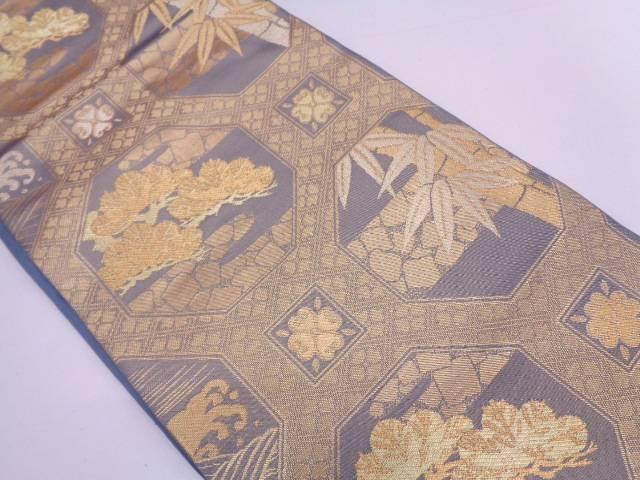 リサイクル 未使用品 川島織物製 蜀江文に松笹模様織出し袋帯【送料無料】