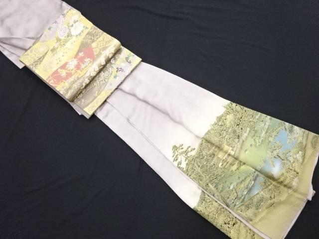 リサイクル 甲斐泰造作 金彩螺鈿金閣寺風景模様一つ紋色留袖・袋帯セット(久保坂製)【送料無料】