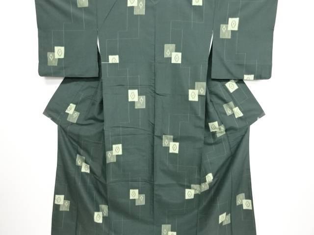 リサイクル 色紙に菱・十字絣模様織り出し手織り縦節紬着物【送料無料】