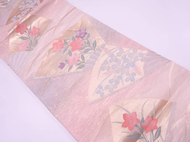 リサイクル  紗 扇面に桔梗・萩模様織出し袋帯【送料無料】