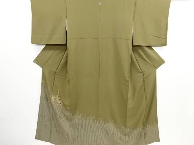 リサイクル 金彩 束ね熨斗に梅笹・変わり縞模様一つ紋訪問着【送料無料】