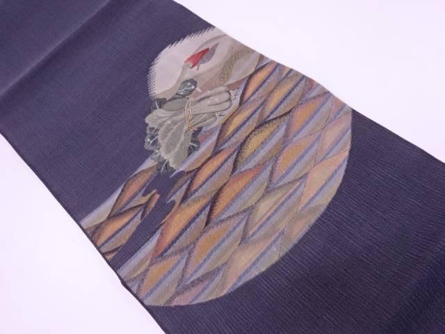 リサイクル すくい織青梗菜に唐辛子模様織出し袋帯【送料無料】