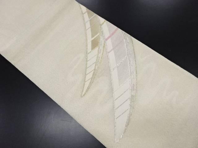 リサイクル 紗 銀糸 流水に小舟模様織り出し袋帯【送料無料】
