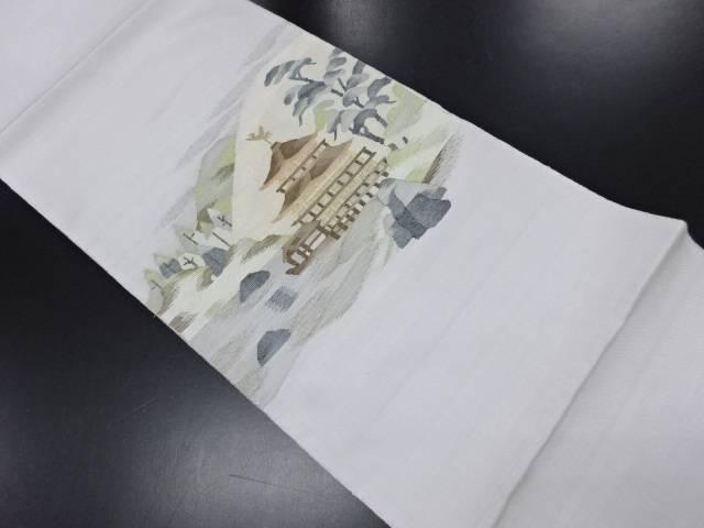 リサイクル 未使用品 綴れ 金閣寺模様織り出し袋帯(未仕立て)【送料無料】