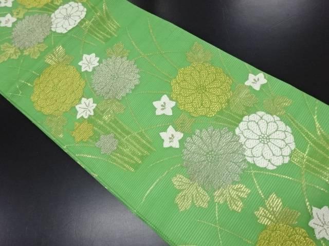 リサイクル 絽 金糸 菊・桔梗模様織り出し全通袋帯【送料無料】