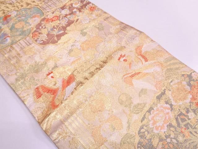 リサイクル 花鳥模様織出し袋帯 【送料無料】