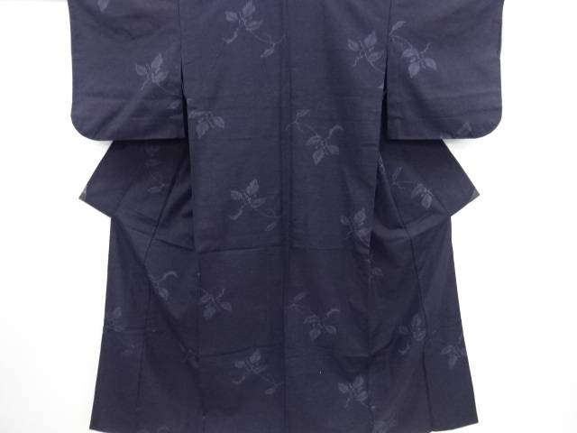 リサイクル 枝の実模様織り出し本真綿結城紬単衣着物【送料無料】