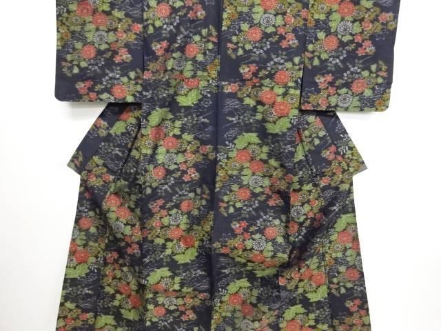 リサイクル 菊楓菱模様織り出し手織り節紬単衣着物【送料無料】