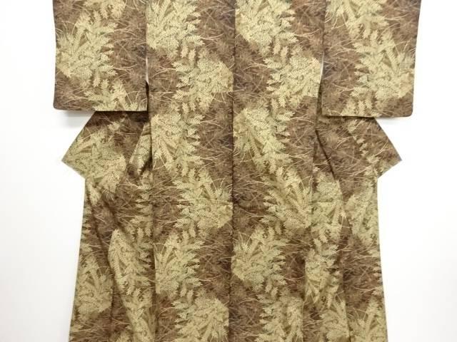 リサイクル 草葉模様織り出し本場泥大島紬着物【送料無料】
