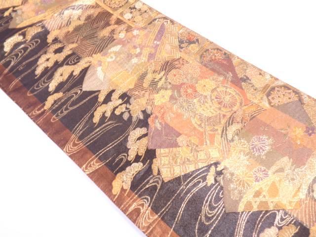 リサイクル 地紙に松鶴・花車模様織出し袋帯【送料無料】