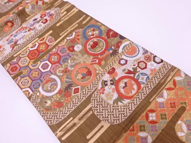 リサイクル 唐織宝づくしに花唐草模様織出し袋帯【送料無料】