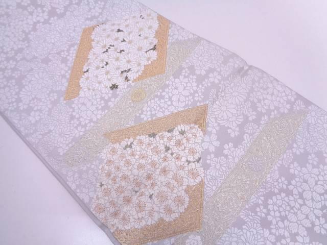リサイクル 山口美術織物謹製 唐織菱に草花模様織出し袋帯【送料無料】