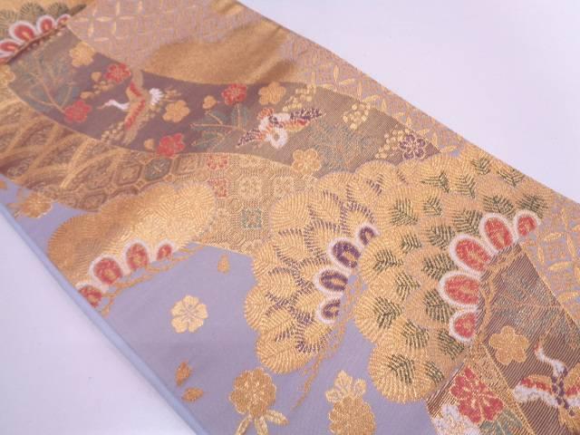 リサイクル 流水に松・花鳥模様織出し袋帯【送料無料】