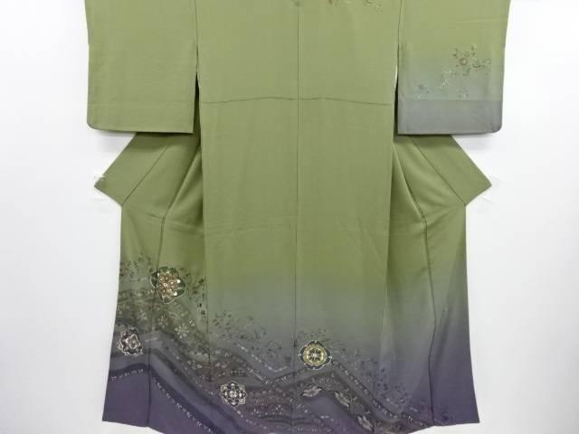 リサイクル 汕頭蘇州刺繍華紋更紗模様一つ紋訪問着【送料無料】