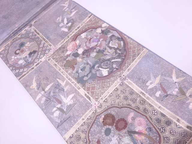 リサイクル 作家物 螺鈿金彩草花に古典柄模様袋帯【送料無料】