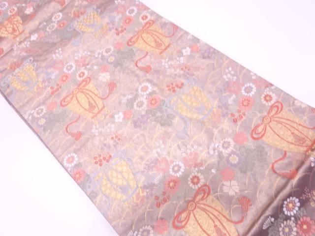 リサイクル 虫籠に秋草模様織出し袋帯【送料無料】