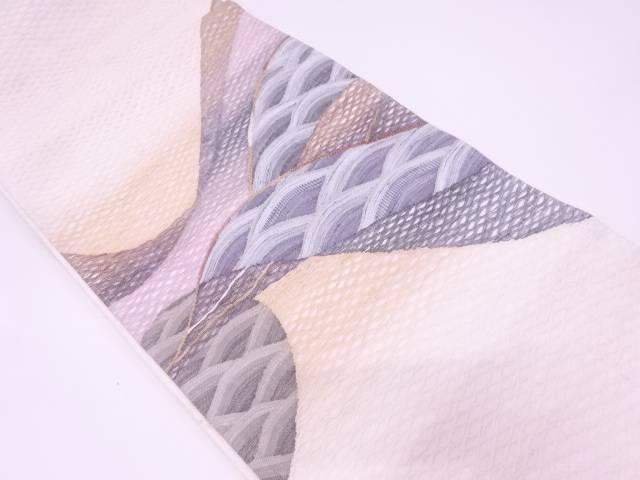 リサイクル 未使用品  紗 すくい織波模様織出し袋帯【送料無料】