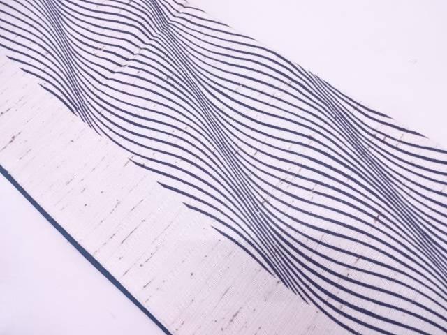 リサイクル ぜんまい紬縞に抽象模様織出し全通袋帯【送料無料】