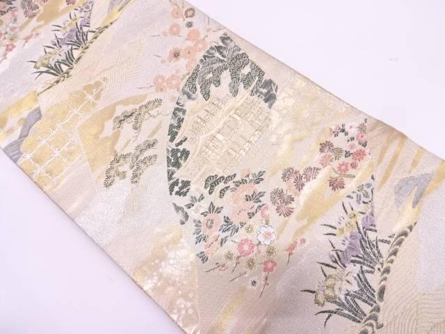 リサイクル 地紙に金閣寺・草花模様織出し袋帯【送料無料】