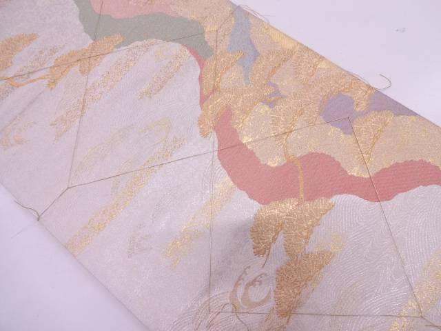 リサイクル 未使用品 波に松模様織出し袋帯【送料無料】