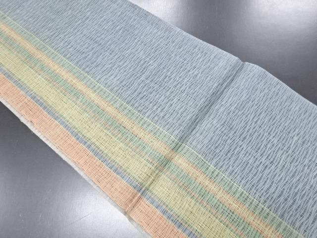 リサイクル 未使用品 紗 すくい織 縞模様織り出しリバーシブル全通袋帯【送料無料】
