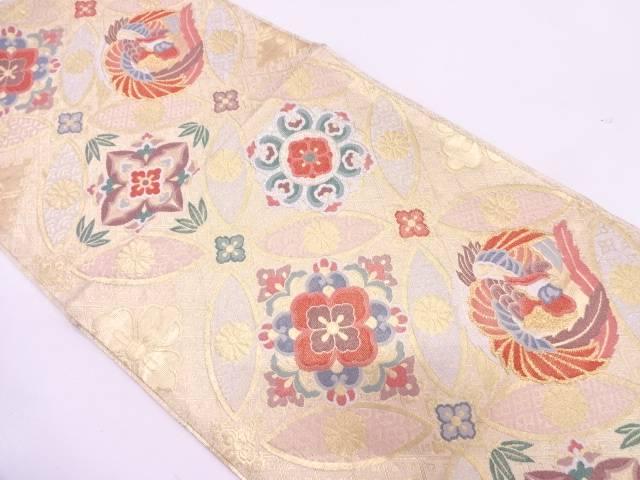 リサイクル 七宝に花・鳳凰模様織出し袋帯【送料無料】