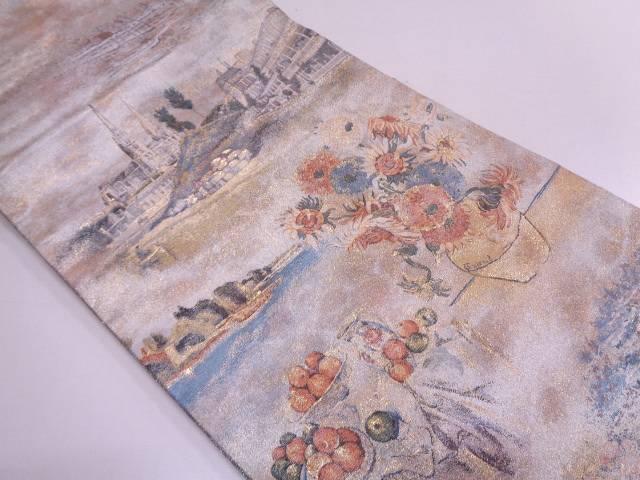 リサイクル 西洋の美術模様織出しリバーシブル全通袋帯【送料無料】
