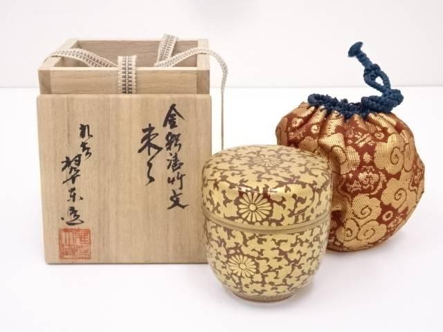 【茶道具】九谷焼 翠東造 金彩唐竹文陶棗【送料無料】
