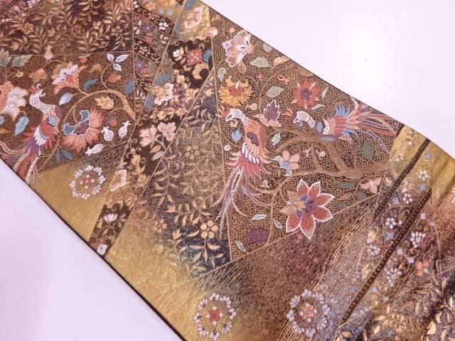 リサイクル 光釉色箔花鳥模様織出し袋帯【送料無料】