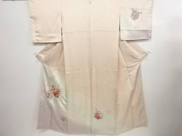 リサイクル 蘇州刺繍雪輪に牡丹・菊・七宝模様一つ紋訪問着【送料無料】