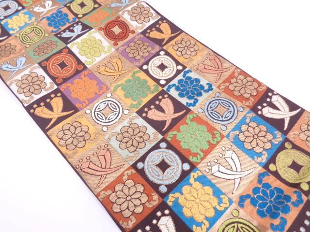 リサイクル 川島織物製 市松に宝尽くし模様織出し袋帯【送料無料】