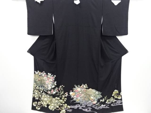 未使用品 仕立て上がり 蘇州刺繍 草花尽くしに風景模様留袖(比翼付き)【送料無料】