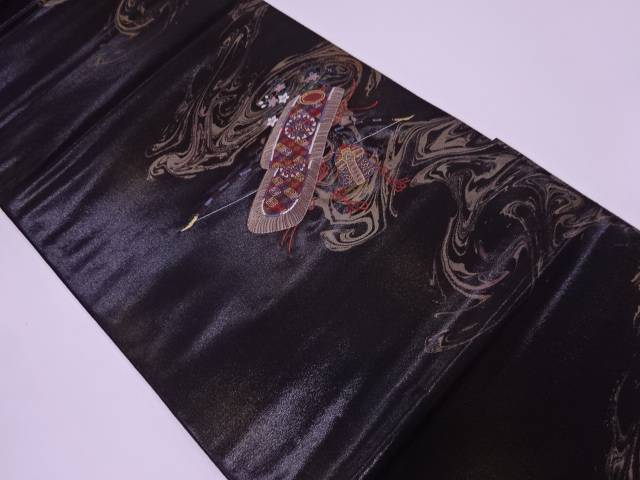 リサイクル 未使用品 押田和男製 漆流鏑馬装束模様織出し袋帯【送料無料】