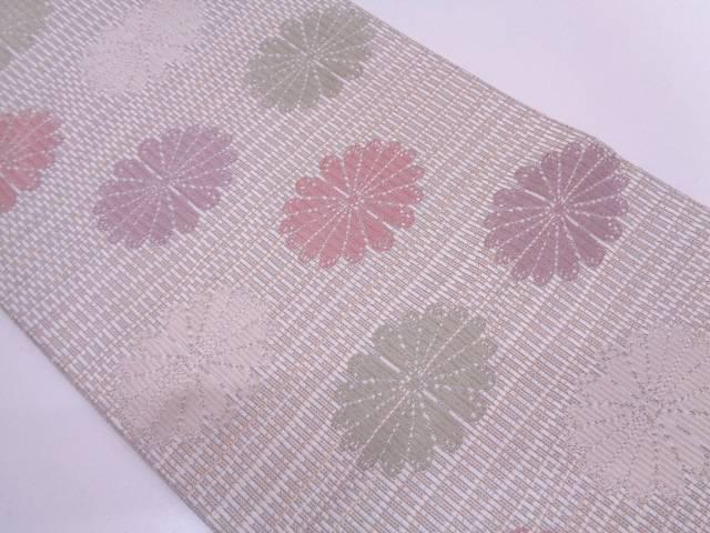 リサイクル 花模様織出し袋帯【送料無料】